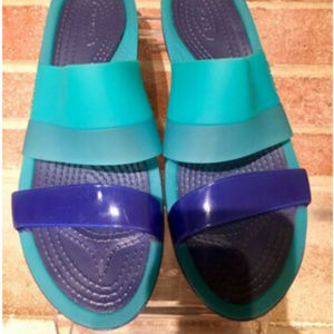 Crocs Womens Colorblock Wedge Slide Jelly Sandals